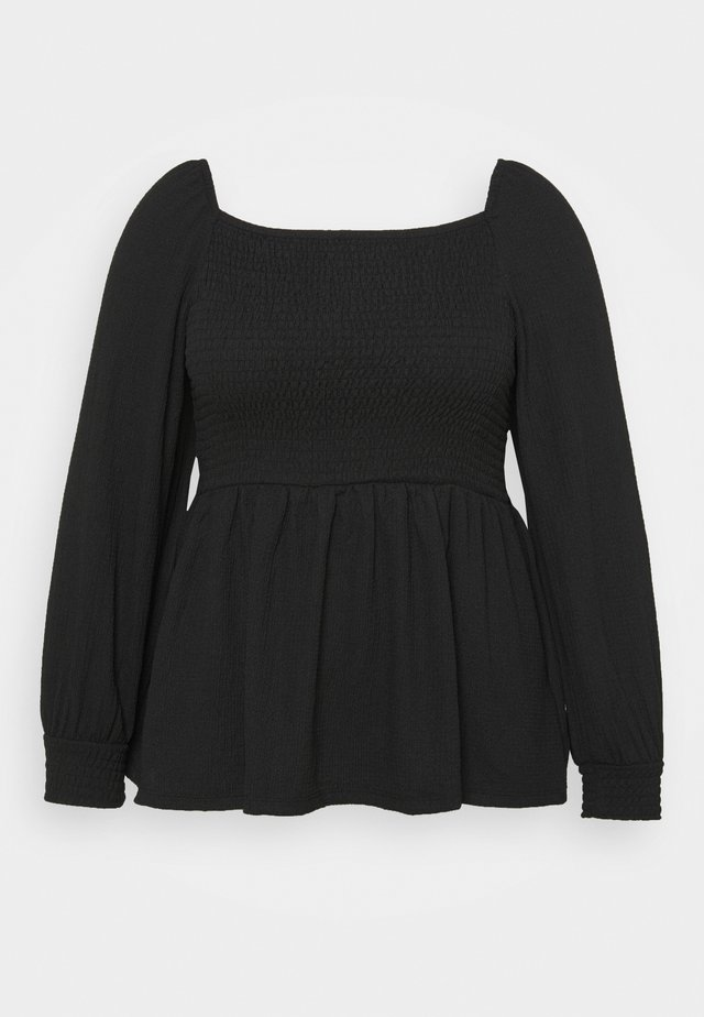 SHIRRED  - Long sleeved top - black
