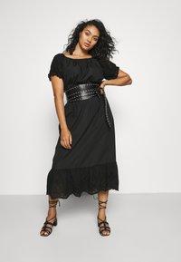 ONLY Carmakoma - CARLUCIA OFFSHOULDER CALF DRESS PLUS - Korte jurk - black - 1