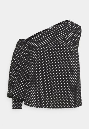 ONE SLEEVE PUFF SLEEVE POLKA - Blusa - black