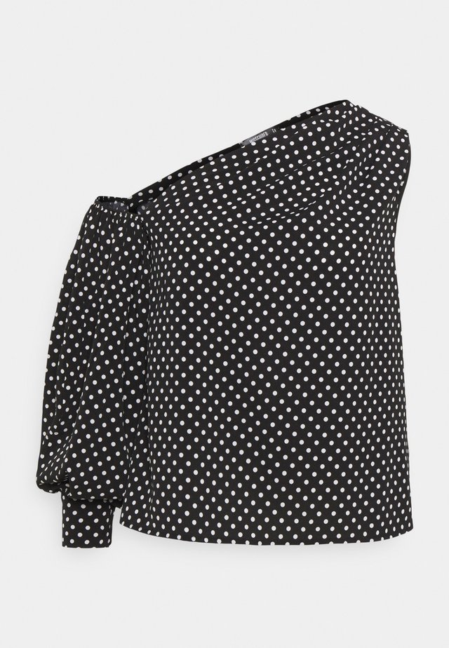 ONE SLEEVE PUFF SLEEVE POLKA - Blouse - black