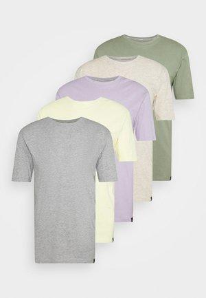 5 PACK - T-shirt basic - lilac/light yellow/sage green/grey marl/off white