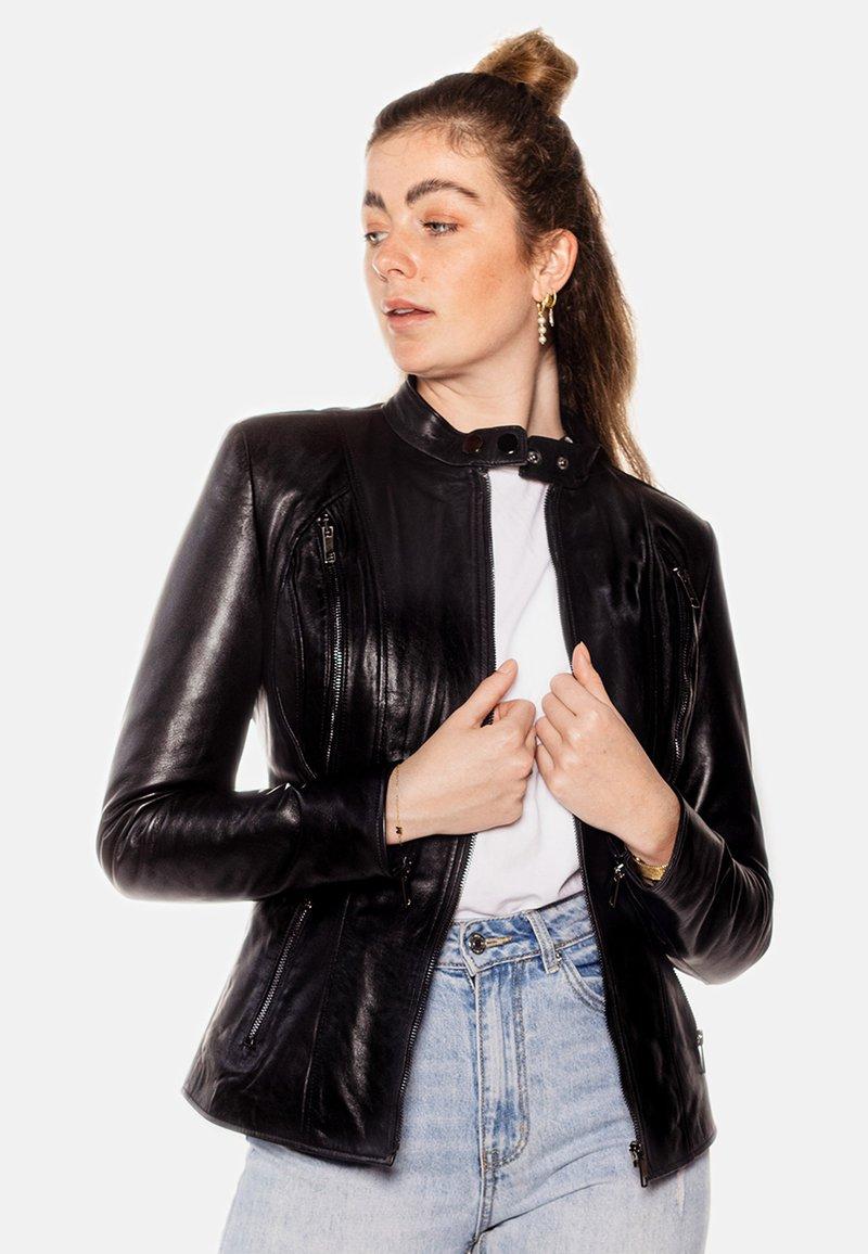 LEATHER HYPE - ARYAN - Leather jacket - black