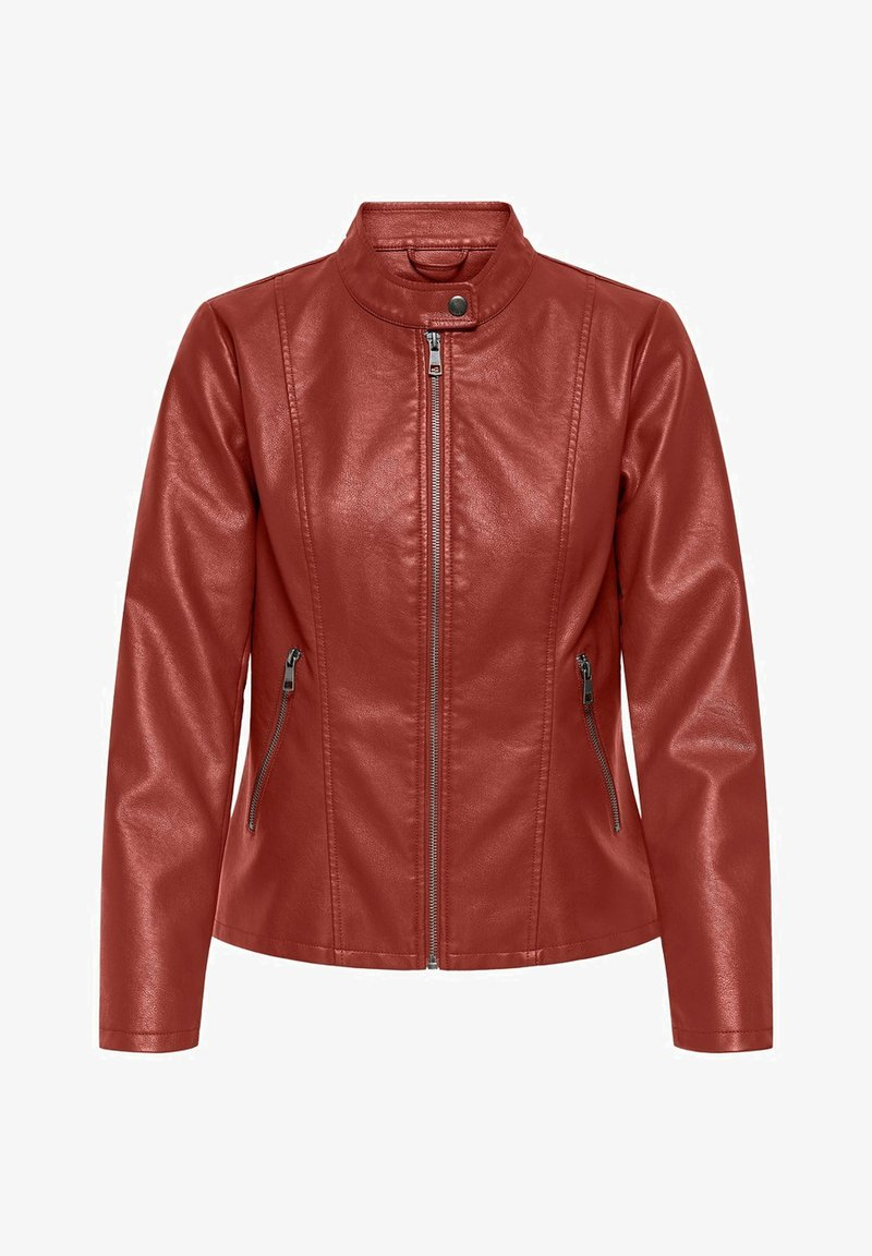 ONLY - ONLMELISA FAUX JACKET - Faux leather jacket - red ochre