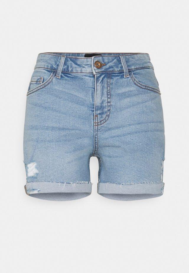 PCLISA DESTROY - Shorts di jeans - light blue denim