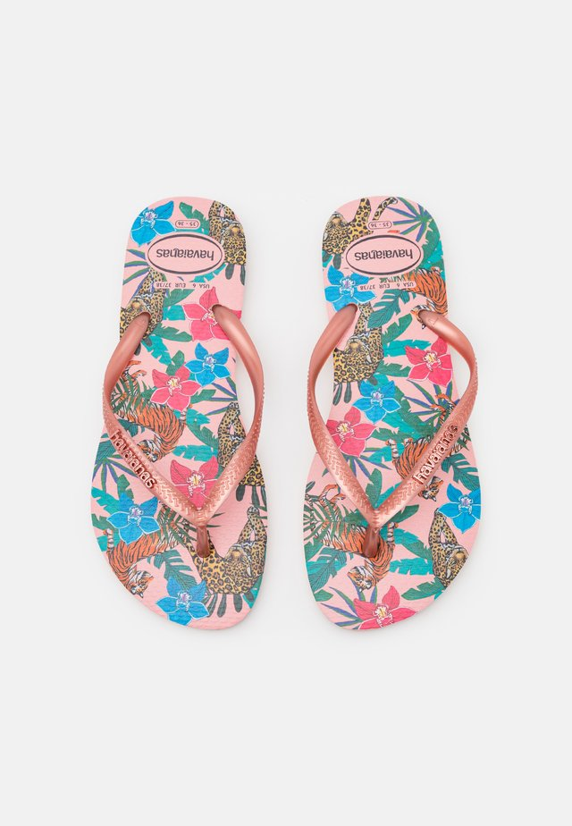 SLIM FIT TROPICAL - tåsandaler - ballet rose/pink retro metallic