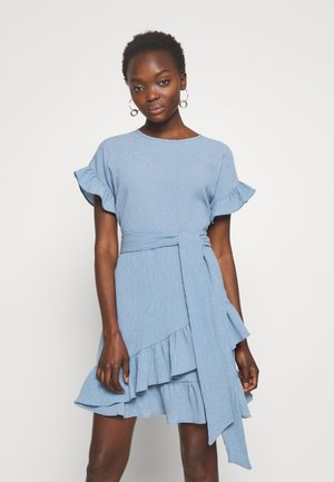 RUFFLE WRAP DRESS - Vestito estivo - blue