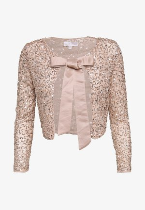 DELICATE SEQUIN JACKET WITH BOW - Strickjacke - taupe blush