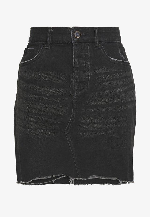 ONLSKY SKIRT RAW EDGE - Minigonna - black