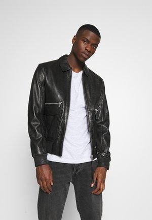 DELMORE - Leather jacket - black