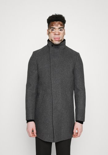 ASYMMETRIC FUNNEL NECK - Classic coat - grey