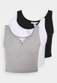 Topshop - WAFFLE NOTCH 3 PACK - Top - black/white/grey - 5