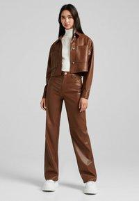 Bershka - CROPPED AUS - Faux leather jacket - brown - 1