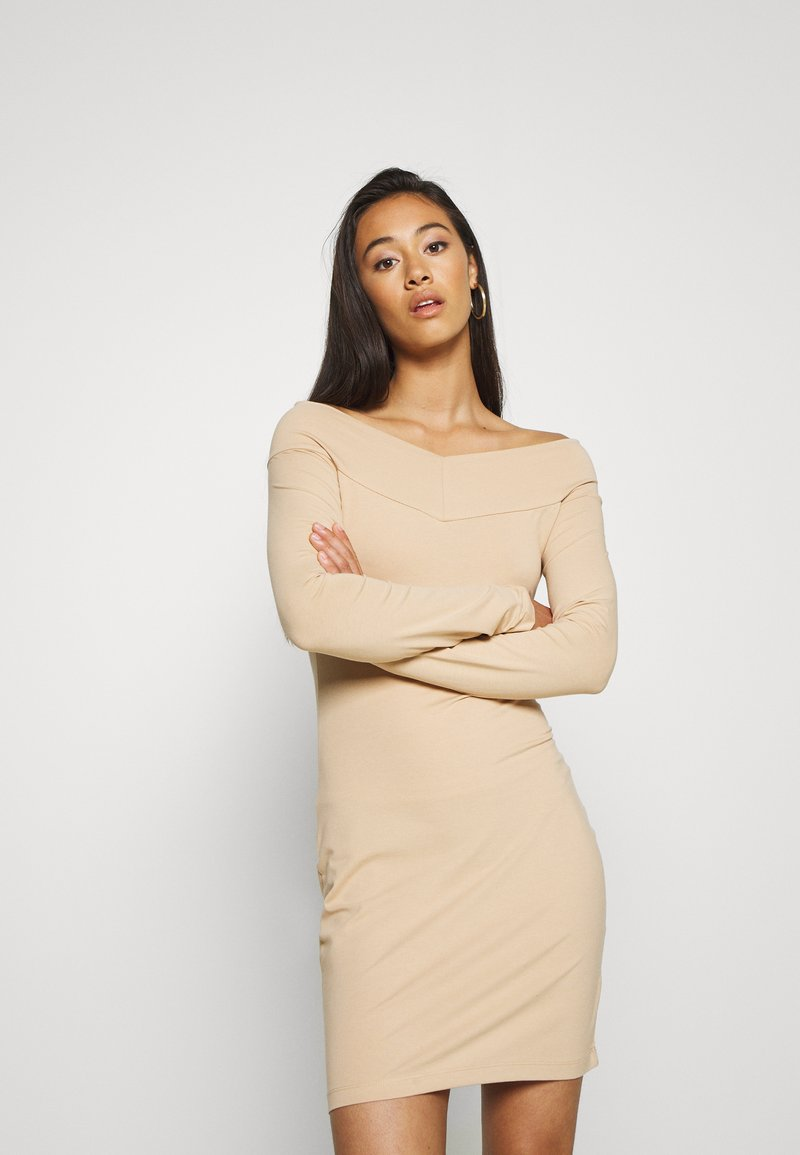 Even&Odd - BASIC - OFF-SHOULDER MINI LONG SLEEVES DRESS - Etuikjole - cuban sand