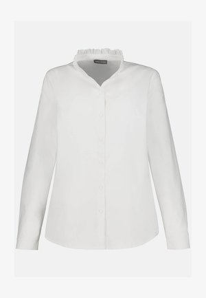 RUFFLE HIGH COLLAR - Button-down blouse - schneeweiß