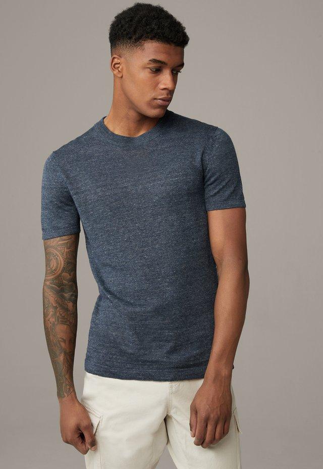 Basic T-shirt - dunkelblau meliert
