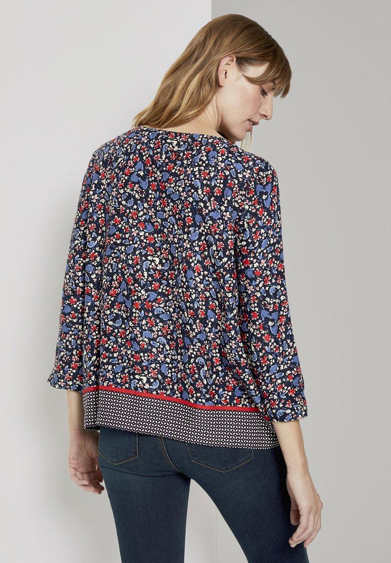 TOM TAILOR Bluse - navy flower design/dunkelblau meliert LUMmsF
