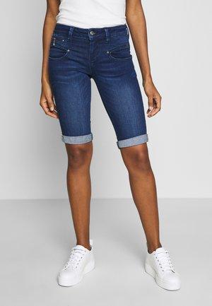BELIXA - Denim shorts - dark blue denim