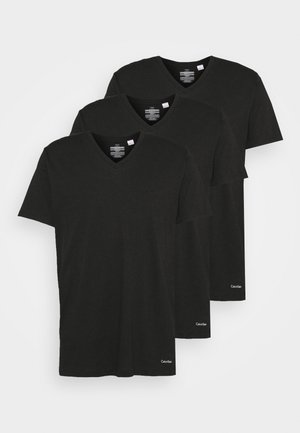 COTTON CLASSICS V NECK 3 PACK - Maglietta intima - black