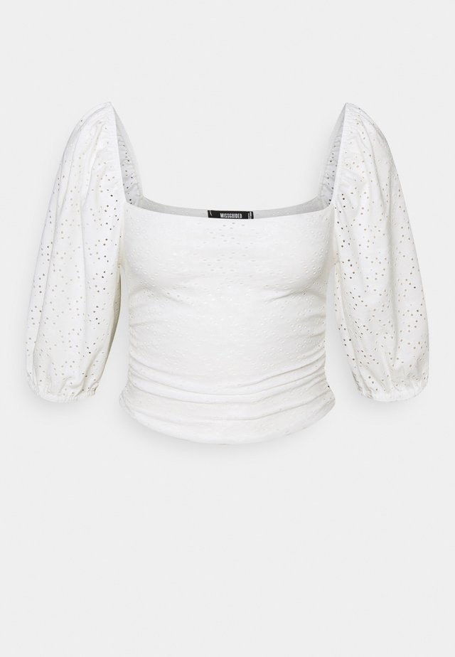 MILKMAID BRODERIE CROP - Long sleeved top - white