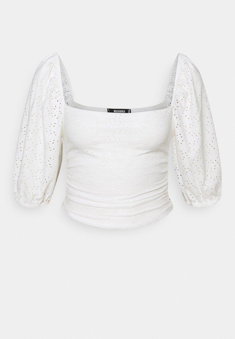 Missguided Petite - MILKMAID BRODERIE CROP - Long sleeved top - white