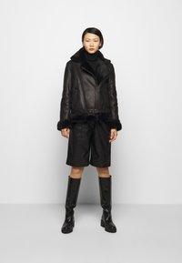 STUDIO ID - BIKER JACKET - Leather jacket - black/dark grey - 1