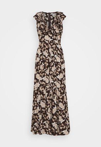 RUFFLE MIDAMI DRESSES WITH PLUNGING NECKLINE WIDE STRAPS  - Maxi dress - dark brown
