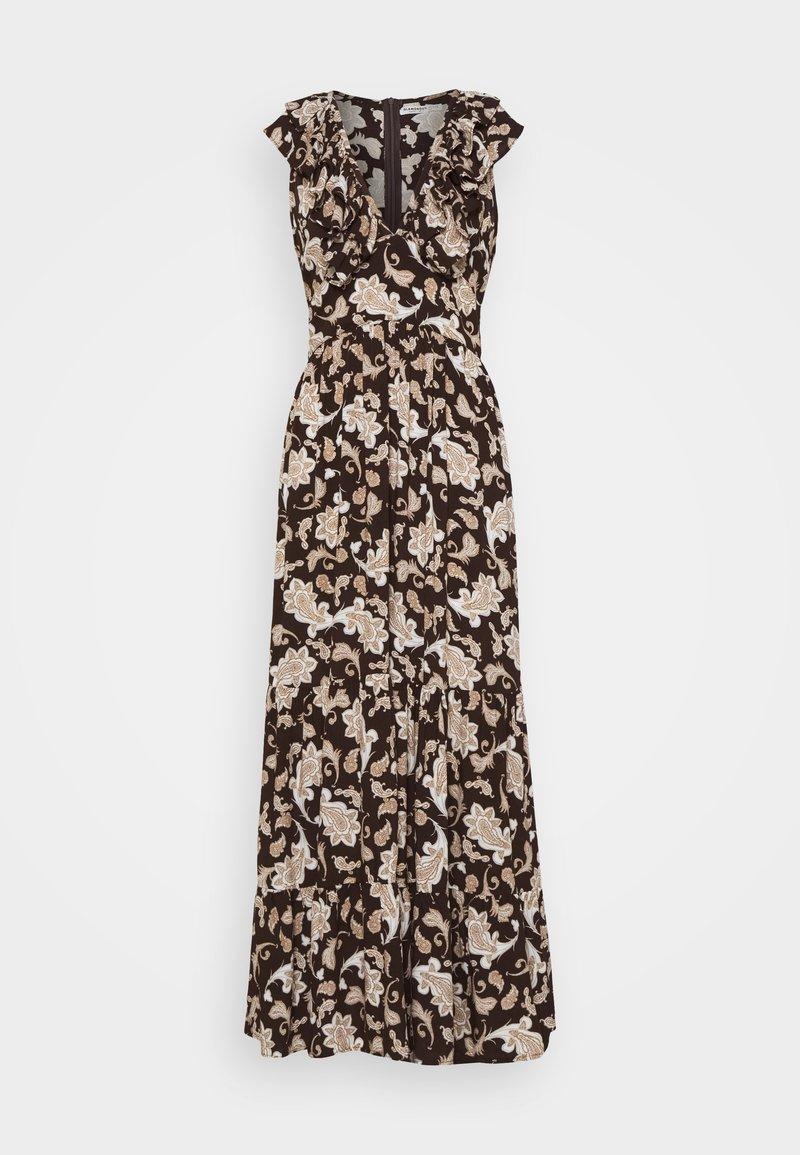Glamorous Petite - RUFFLE MIDAMI DRESSES WITH PLUNGING NECKLINE WIDE STRAPS  - Maxi dress - dark brown