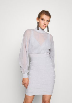 TRANSPARENT MINI DRESS CUT OUT - Cocktail dress / Party dress - stone