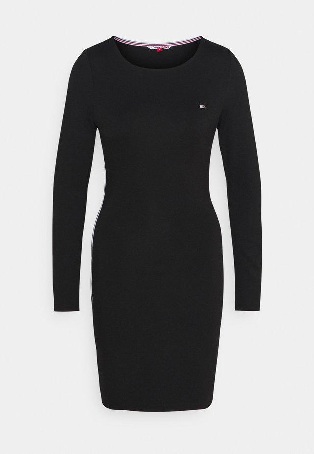 TAPE DETAIL LONGSLEEVE DRESS - Jersey dress - black