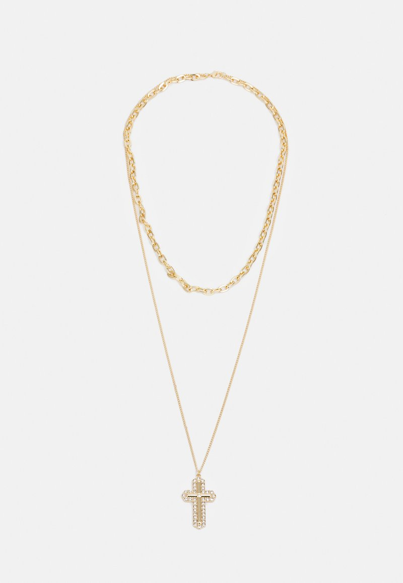 Uncommon Souls - MIX CHAIN CROSS  - Necklace - gold-coloured