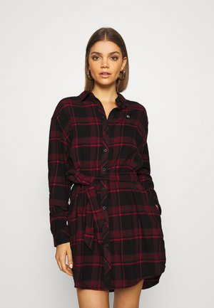 DRESS - Shirt dress - deep crimson/black