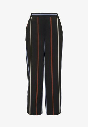 HOSEN & CHINO CULOTTE HOSE MIT BINDEGÜRTEL - Trousers - black blue rust stripe