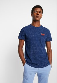 Superdry - ORANGE LABEL VINTAGE EMBROIDERY TEE - Basic T-shirt - faux indigo space dye - 0