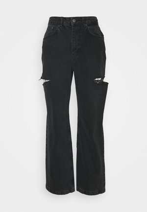 DOUBLE THIH CUT - Relaxed fit jeans - charcoal