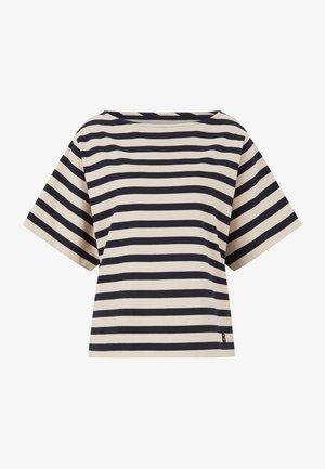 Print T-shirt - beige/navy blau