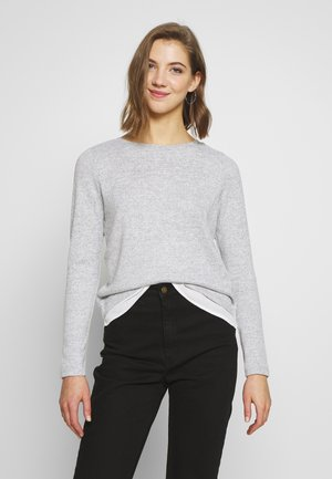 ONLASHLEY PLACKET MIX - Strikkegenser - light grey melange