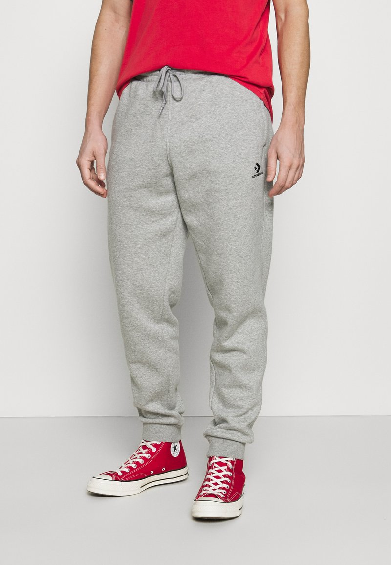 Converse - MENS EMBROIDERED STAR CHEVRON PANT - Tracksuit bottoms - mottled grey