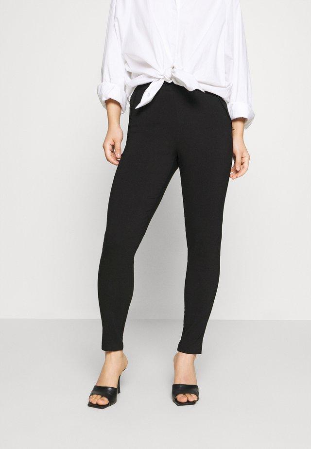 GINGHAM BENGALINE - Leggings - Trousers - black