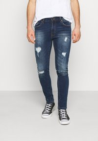 Denim Project - MR RED - Jeans Skinny Fit - dark blue destroy - 0