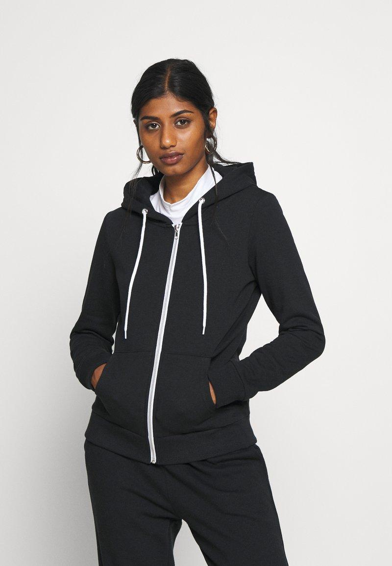 Even&Odd Petite - Zip-up hoodie - black