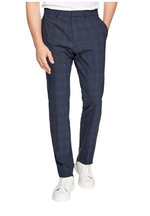 SLIM: AUS SCHURWOLLMIX - Pantaloni eleganti - dark blue glencheck
