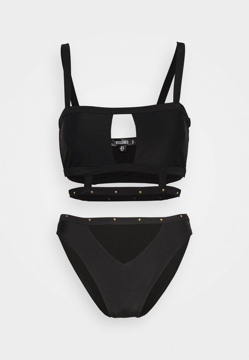 Missguided - SQUARE NECK STUD CAGED DETAIL TOP AND V FRONT STUD STRAP SET - Bikini - black