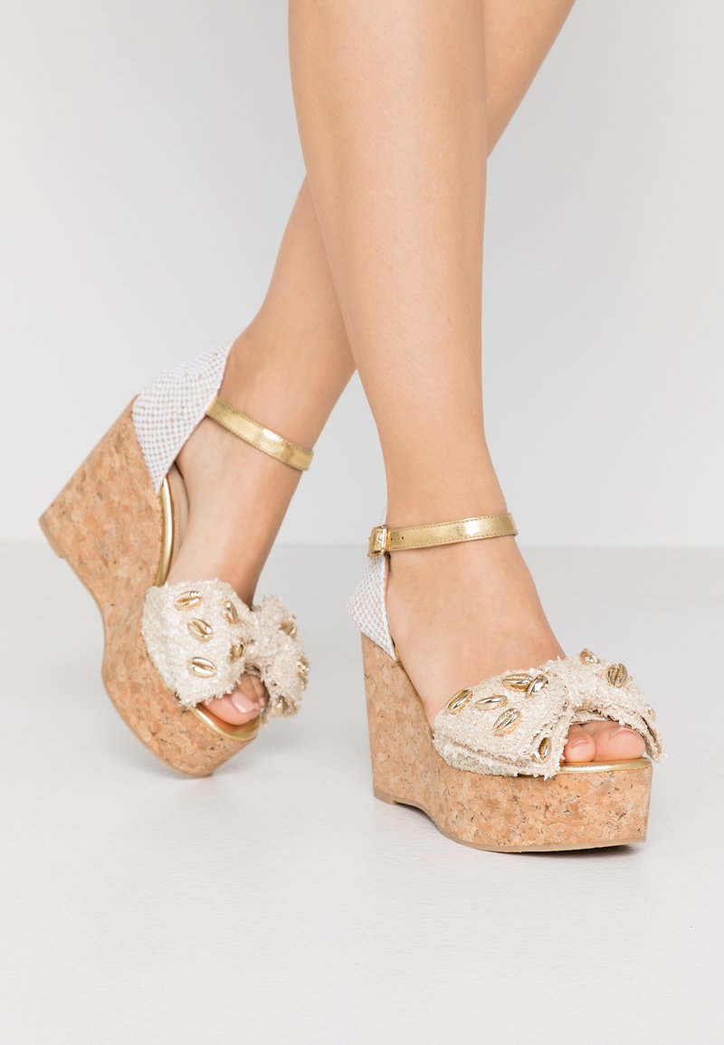 RAS - High heeled sandals - fuffy sand/kiddy gold