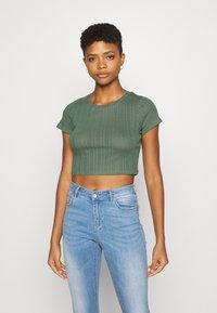 Even&Odd - 3 PACK - T-shirt basic - black/mottled green/white - 3