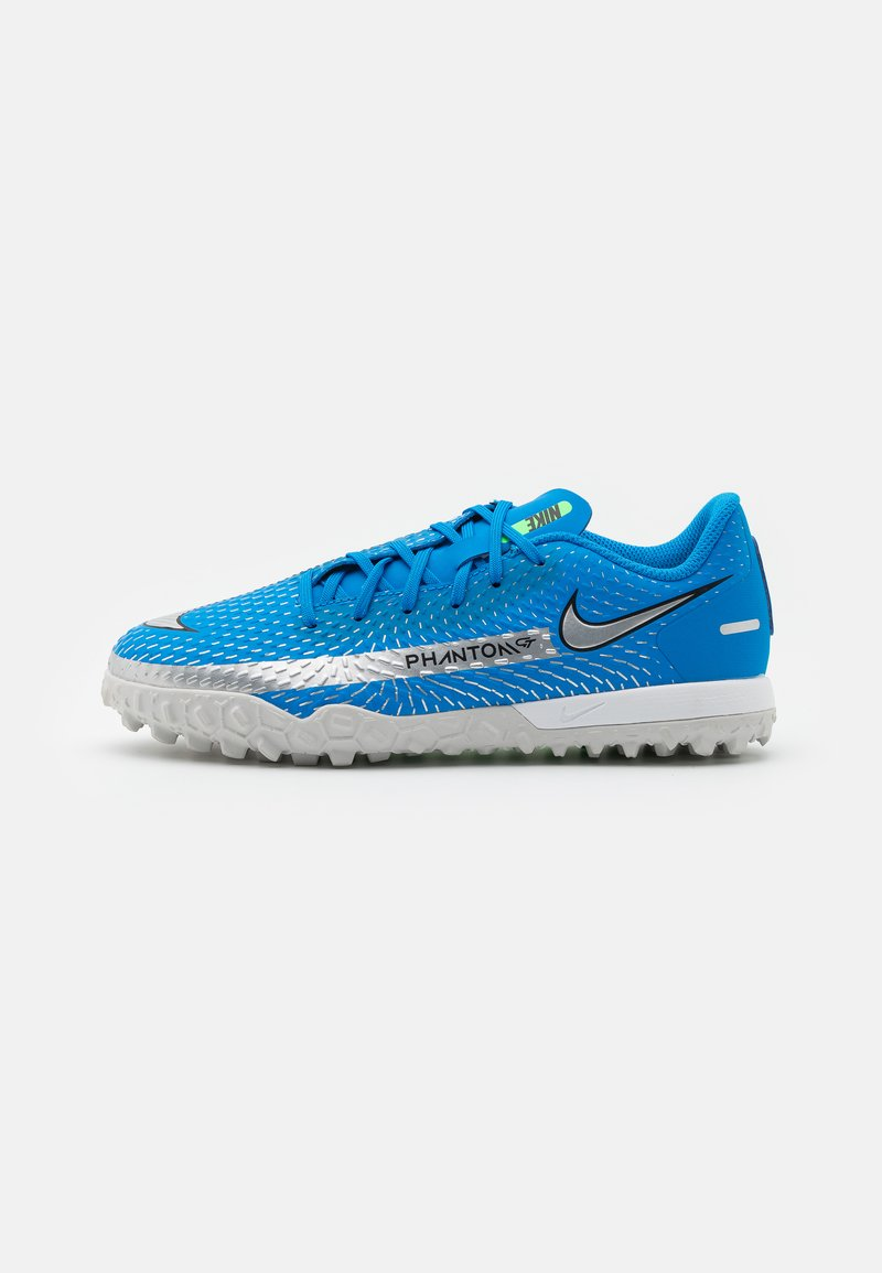 Nike Performance - JR PHANTOM GT ACADEMY TF UNISEX - Fodboldstøvler m/ multi knobber - photo blue/metallic silver/rage green