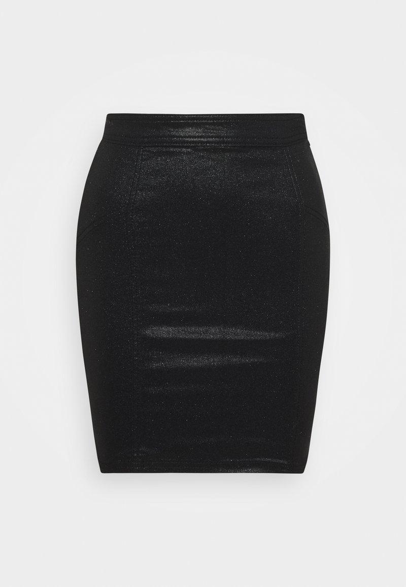 Pieces Petite - PCSKIN PARO GLITTER SKIRT  - Pouzdrová sukně - black