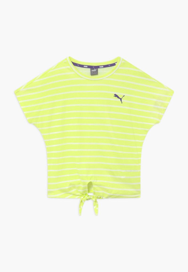 Puma - ALPHA STRIPED TEE - Print T-shirt - sunny lime