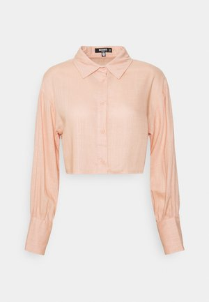 CROPPED SHIRT LOOK - Button-down blouse - sand