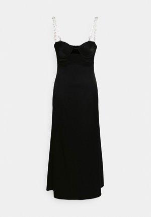 CHAIN STRAPS FLOUNCE DRESS - Cocktailjurk - black/silver-coloured