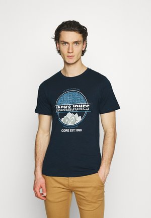 JCOCHRIS GIBS TEE CREW NECK - T-shirt imprimé - navy blazer